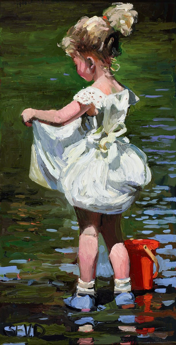 Paddling in the River by sherree valentine daines -  sized 7x13 inches. Available from Whitewall Galleries